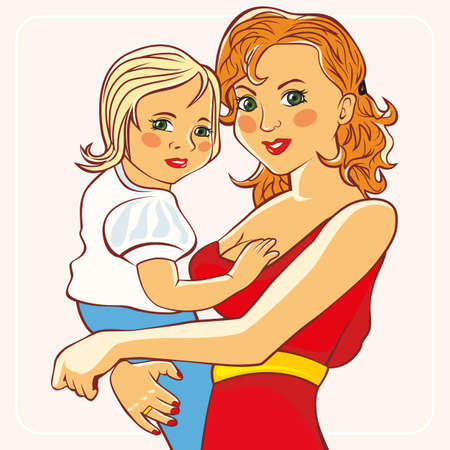 holds: The mother holds the child in her arms. Graphic figure. Vector illustration.