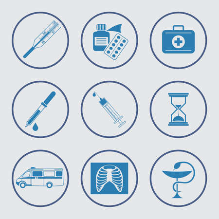 tincture: Vector set of medical icons.