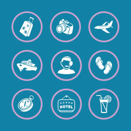 tour operator: Set of vector icons Travel and Tourism. Illustration
