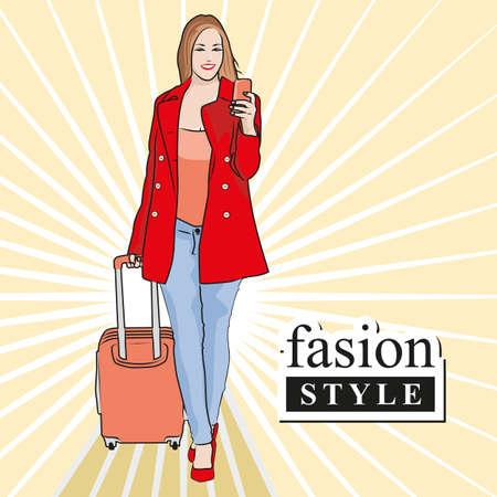 Beautiful woman fashion buy stylish things. Graphic design vector illustration.