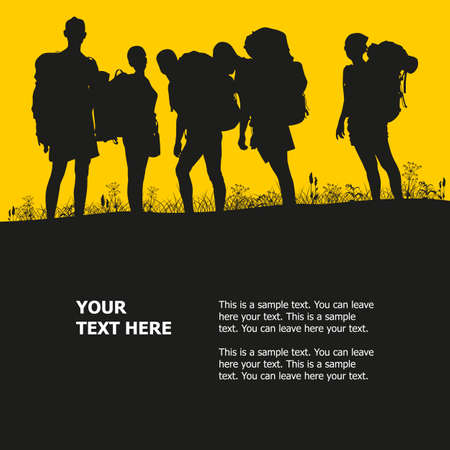 Tourism silhouettes of young people with backpacks. Vector illustration. Illustration