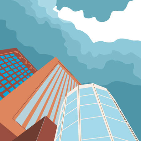 highrise: Skyscrapers High-rise buildings . Graphic design-vector illustration. Illustration