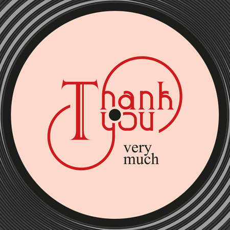 Gestileerde inscriptie dank u op het album. Vector.