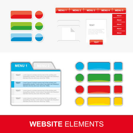 with sets of elements: Four sets of web elements for website and mobile applications. Vector.