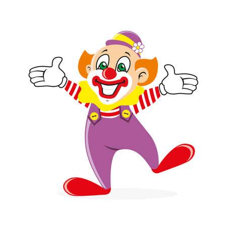joking: Joyful clown welcomes guests