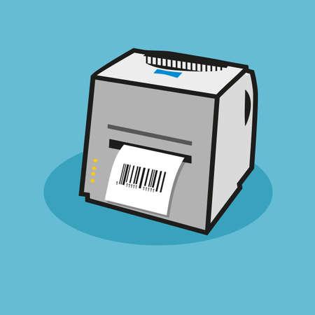 Cartoon Illustration eines Scanners. Leitet einen gedruckten Beleg.