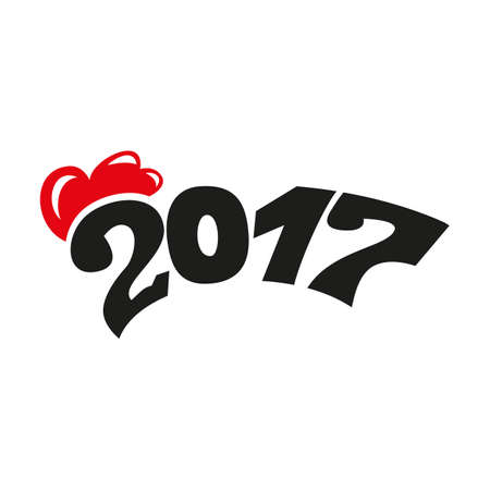 happy newyear: 2017 black figure and a red comb. Illustration