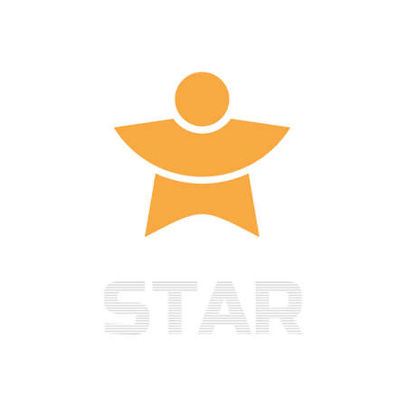arms outstretched: Silhouette with outstretched arms and the inscription a Star.