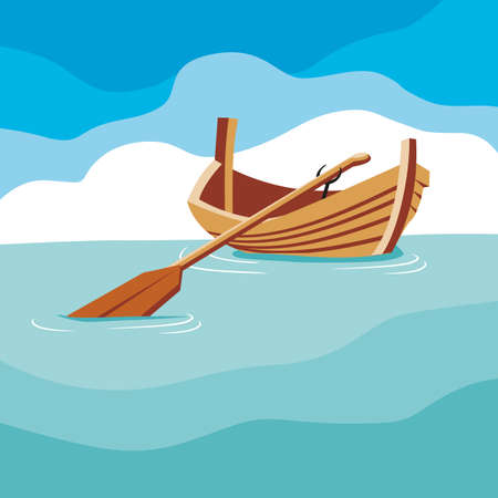row boat: On the waves bobs a boat with a paddle on a blue sky background.