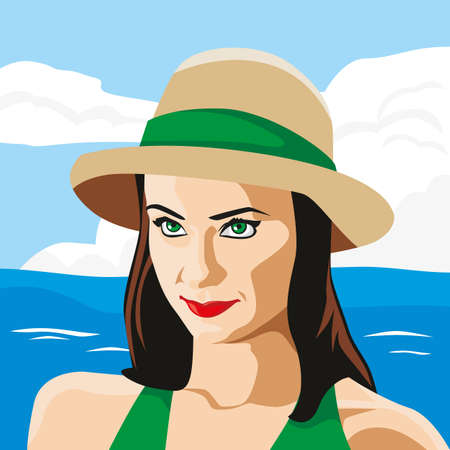 Cute girl by the sea. Vector illustration.