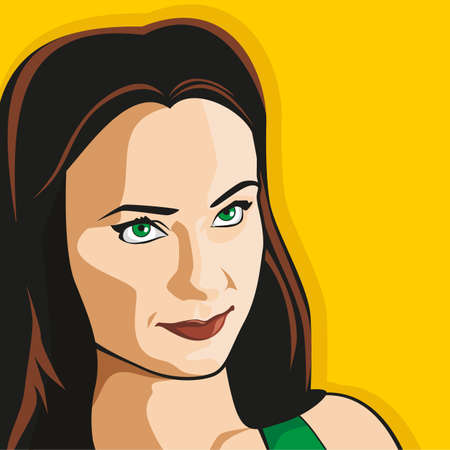 Cute girl on a yellow background. Vector.