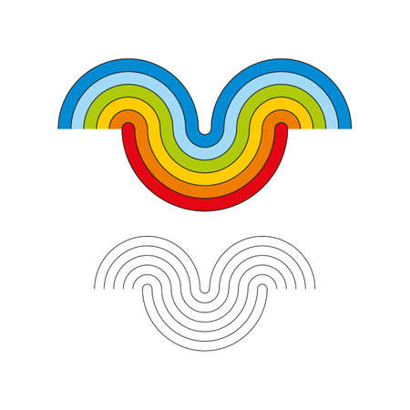 Smile in the form of a rainbow. Colored vector illustration and monochrome.