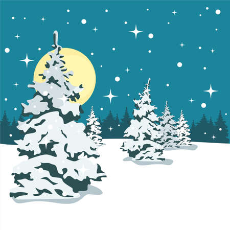 Snowy forest at night. It's snowing. Vector illustration.