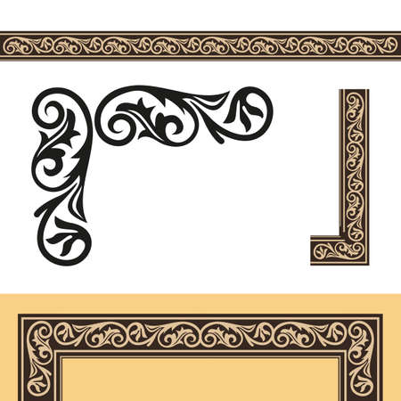 Retro style picture frame. Vector
