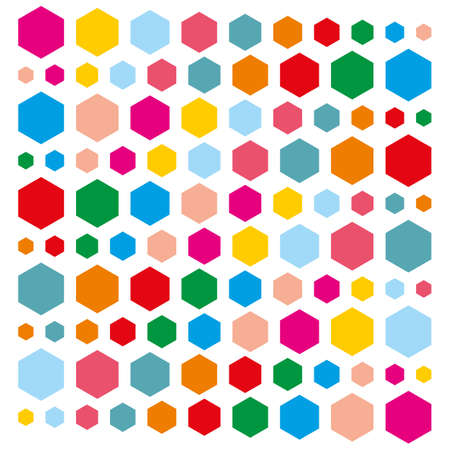 gauze: Hexagons of different colors. Vector illustration Illustration