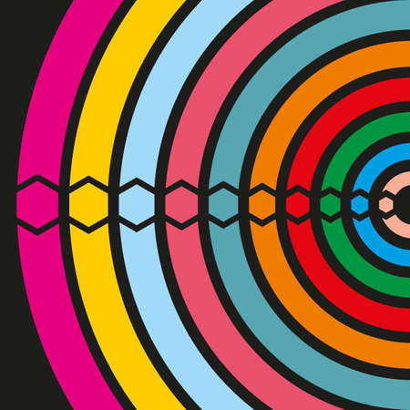 Multi-colored semi-circles and hexagons. Vector