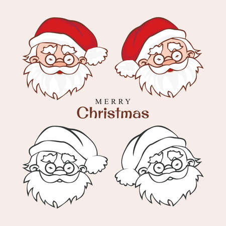 Set of four badges with Santa Clause's face.