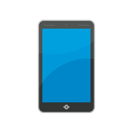 Mobile phone with blue screen on white background. Illustration
