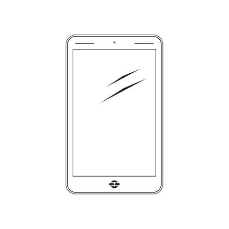 iphon: Mobile phone. Black and white illustration.