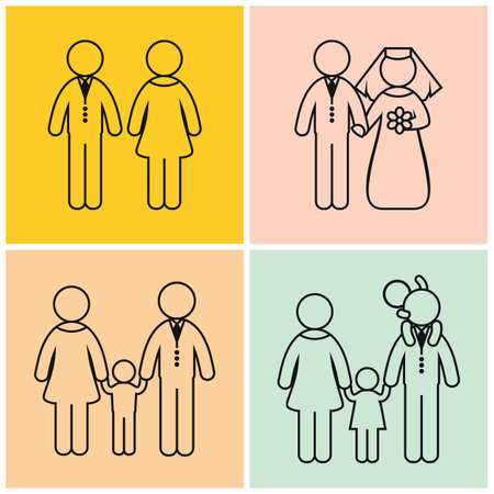father and son holding hands: A set of four pictures. Stages of formation of the family.