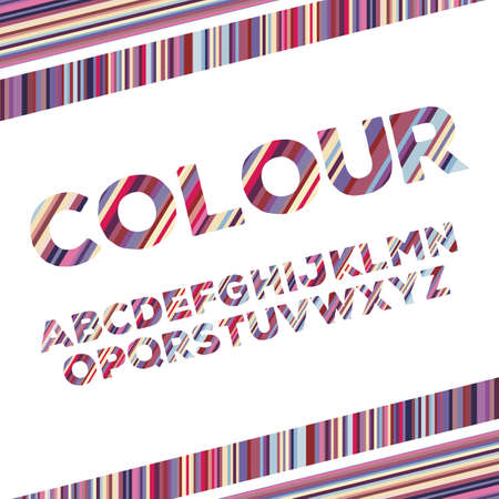 English alphabets with colorful stripes .