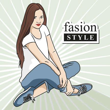 Beautiful woman fashion buy stylish things. Graphic design illustration. Illustration