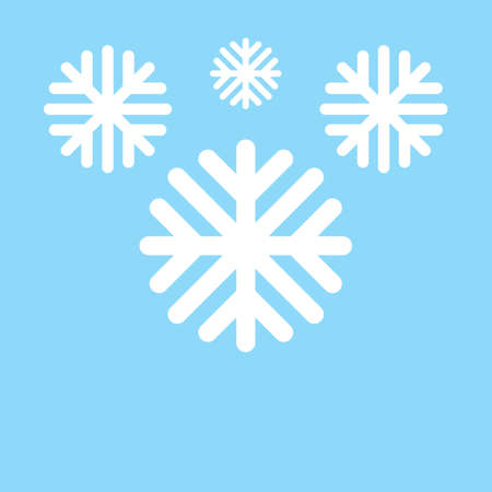 Vector illustration. White snowflakes on a blue background. Illustration
