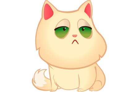 A sad cat with green eyes in white back drop