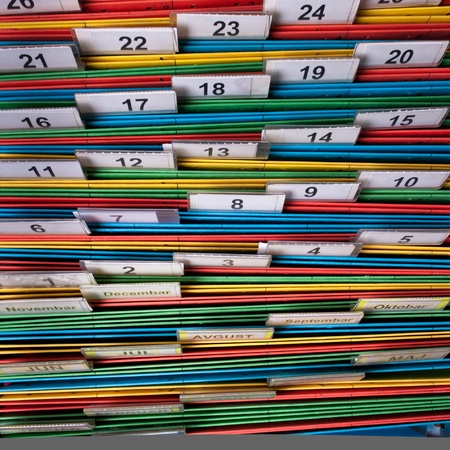 index card: Documents folders sorted for archive with colors and numbers