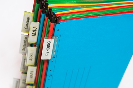 archiving: Document folders sorted for archiving with colors and labels Stock Photo