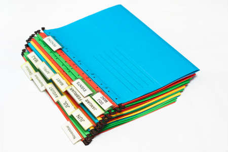 sorted: Document folders sorted for archiving with colors and labels Stock Photo