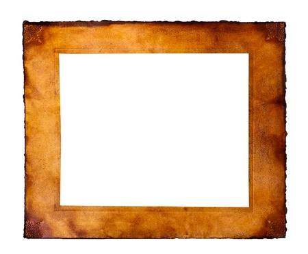 vintage parchement: Parchment frame on white