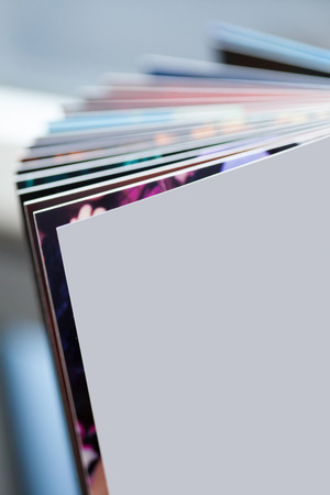 Closeup photo of colored book pages Stock Photo