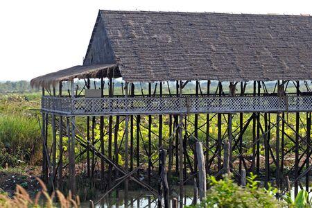 tonle sap: Floating village house on Tonle Sap, Cambodia Stock Photo
