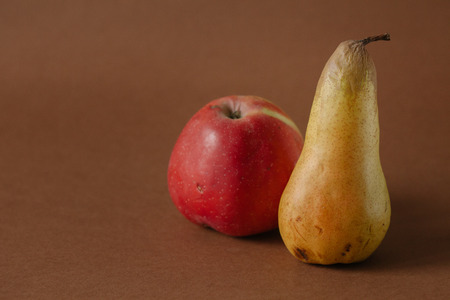 Raw organic fruit pear, apple isolated on bacground Stock Photo