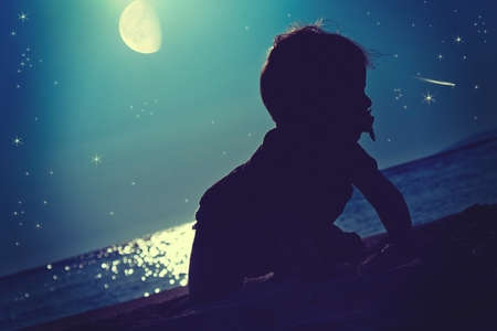 Baby fairytale. A baby under the stars
