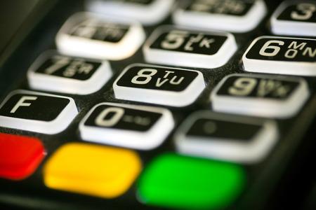 Credit card pos terminal, keyboard closeup
