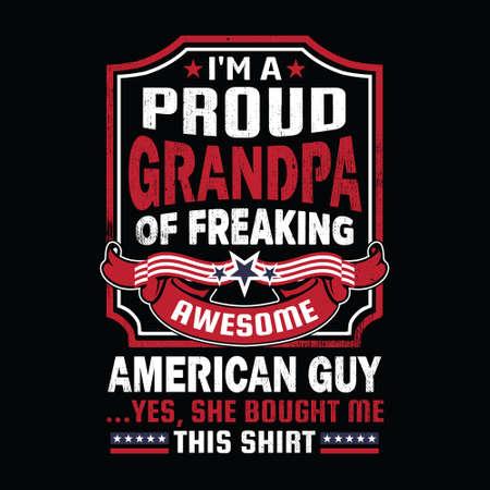 American guy t shirt design. Vektorové ilustrace