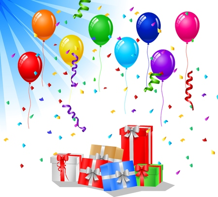 birthday party kids: Happy birthday greeting card with cake and balloons