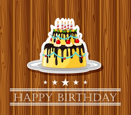 rood: birthday card with colored cake on wood background