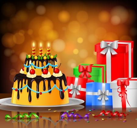 glazing: beautiful happy birthday cake on artistic background Illustration