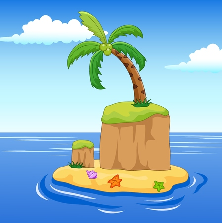 deserted: illustration of a palm tree on a island