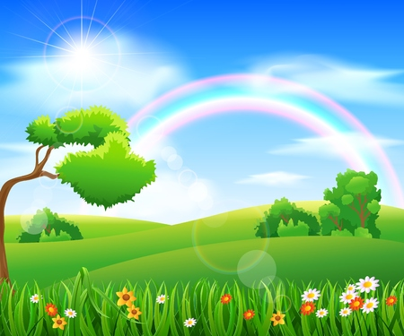 Nature background with green grass and flowers and blue sky