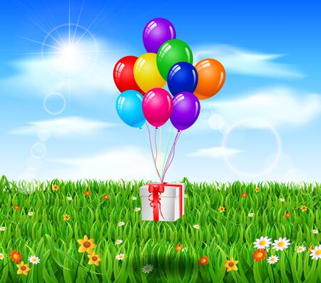 birthday gift: Realistic colorful birthday background with gift Illustration