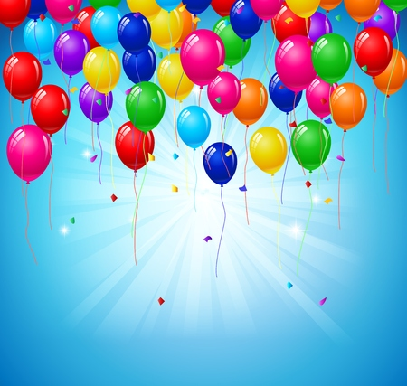 Modern birthday background with balloons Illustration