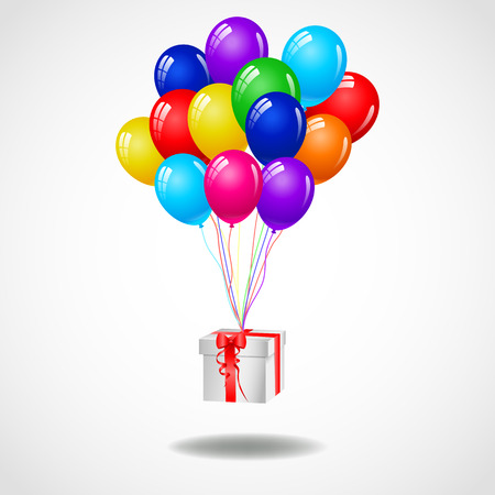 funny birthday: Modern birthday background with balloons and gift