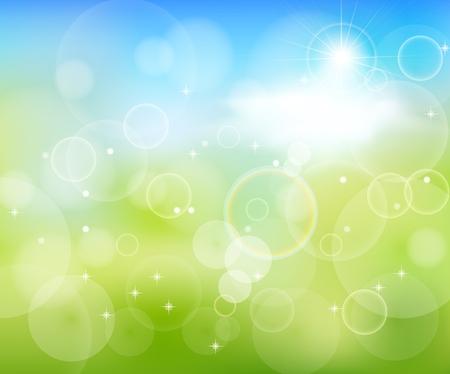 green background: Green Background With Green Grass And Sunburst