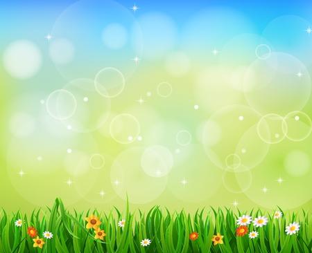 緑の背景に緑の芝生、サンバースト
