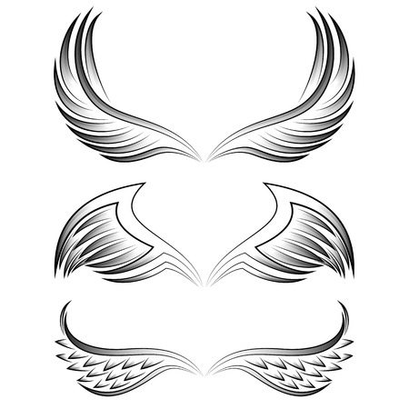 abstract wing: Vintage isolated heraldic wings set