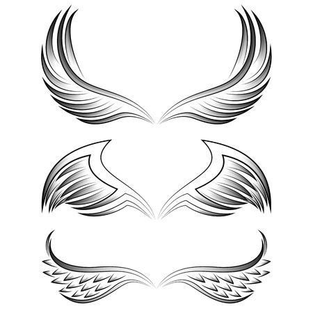 engel tattoo: Weinlese getrenntes heraldischen Fl�gel gesetzt